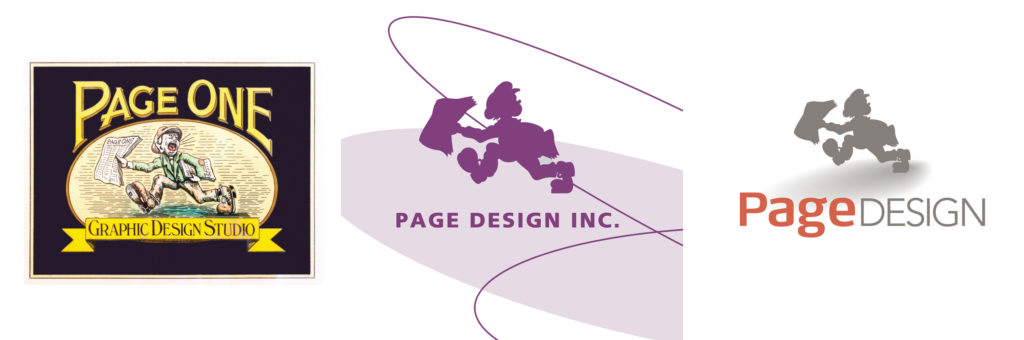 The Page Design Logo over the last 40 years.