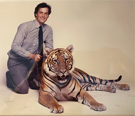 Paul Page with a tiger